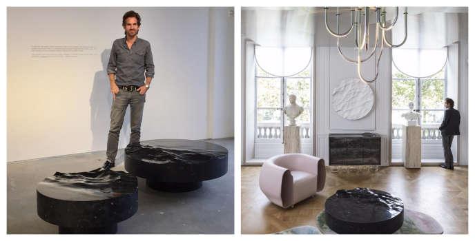 A g. : Le designer français à New York le jour du vernissage de son expo« Ocean Memories». A dr. :Mathieu Lehanneur début septembre à l'hôtel de la Monnaie, à Paris,au milieu de meubles et d'objets qu'il a conçus.