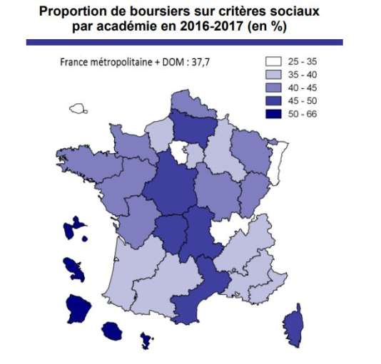 Proportion de boursiers sur critères sociaux par académie en 2016-2017