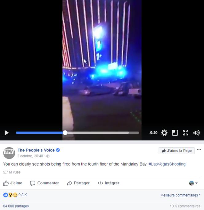 Capture d'écran d'une vidéo qui prétend montrer un second tireur au 4e étage du Mandalay.