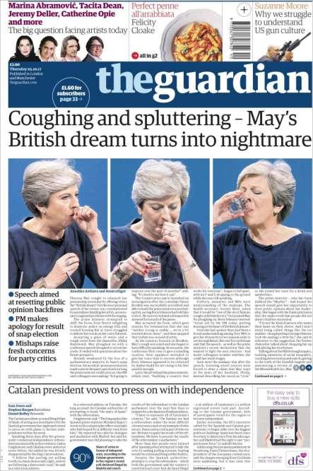 « Le rêve britannique de May tourne au cauchemar», titre «The Guardian».