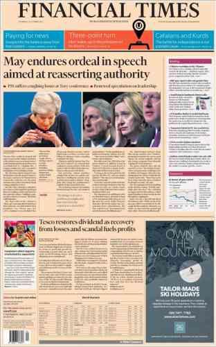 Pour le «Financial Times», le discours de Theresa May fut une«épreuve».