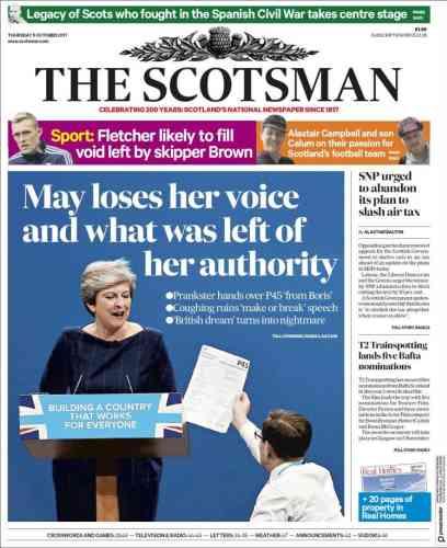 Pour «The Scotsman»,«May a perdu sa voix et ce qui lui restait d'autorité».
