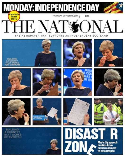 Pour le journal indépendantiste écossais« The National», les images du discours se suffisent à elles mêmes.