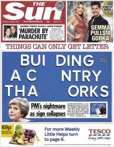 Comme beaucoup de médias britannique, «The Sun» parle d'un«cauchemar» pour la première ministre.