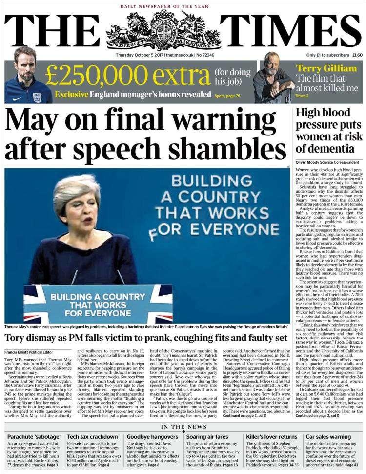 «The Times»parle d'un discours«désastreux».
