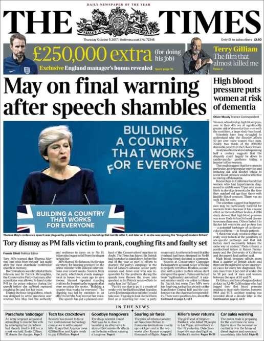 «The Times»parle d'un discours« désastreux».