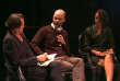 L'astrophysicien Roland Lehoucq, entouré de Nicolas Truong, responsable des pages Idées-Débats, et Valérie Paillé, journaliste-réalisatrice pour le magazine «Tracks» sur Arte.