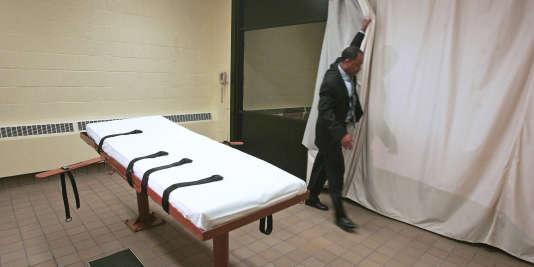 Une chambre d'exécution par injection létale dans une prison étasunienne.