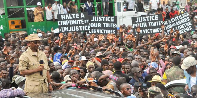 Le leader de l'opposition guinéenne, Cellou Dalein Diallo, lors d'une manifestation à Conakry, le 4octobre 2017.