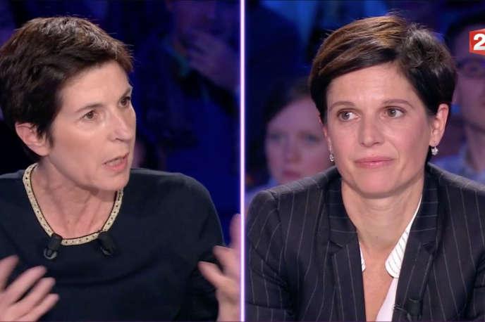 Christine Angot (à gauche) et Sandrine Rousseau lors de l'émission« On n'est pas couché ».