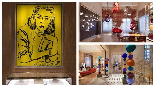 « Lost in thought » (2017), tableau en perles brodées par le plasticien iranien Farhad Moshiri. A droite, deux vues d'ensemble du magasin.