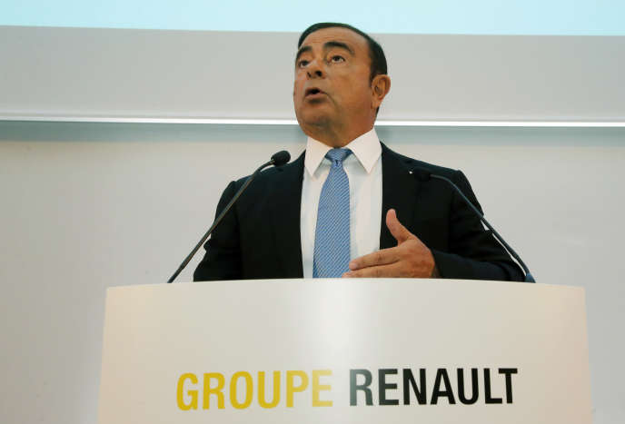Renault Group CEO Carlos Ghosn speaks during a media conference at La Defense business district, outside Paris, France, Friday, Oct. 6, 2017. French carmaker Renault says half of its models will be electric or hybrid by 2022 and it's investing heavily in
