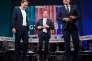Le ministre (ÖVP) des affaires étrangères autrichien, Sebastian Kurz, le chancelier (SPÖ), Christian Kern, et le chef de file du FPÖ, Heinz-Christian Strache, lors d'un débat télévisé, Linz, le 15 septembre.