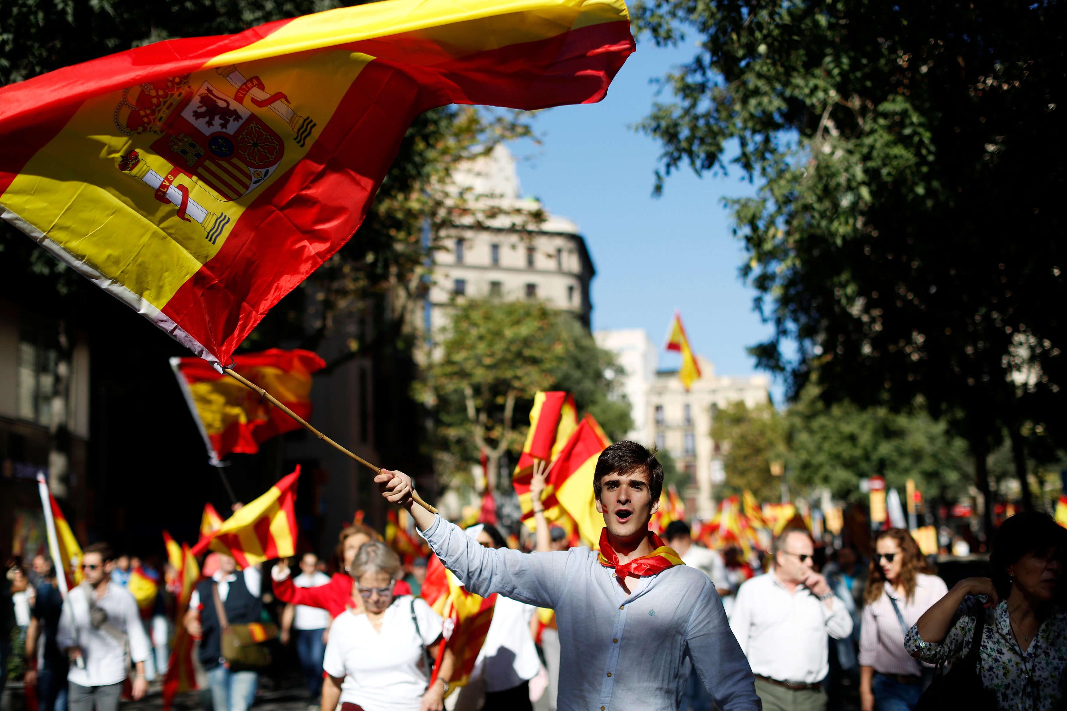 La manifestation a été organisée par l'association unioniste Société civile catalane, sur le thème«Ca suffit ! Retrouvons la sagesse».