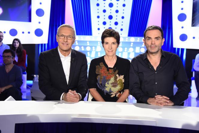 Laurent Ruquier, Christine Angot et Yann Moix sur le plateau de l'émission «On n'est pas couché».