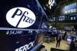 Le logo de Pfizer, à la Bourse de New York, en avril 2016.