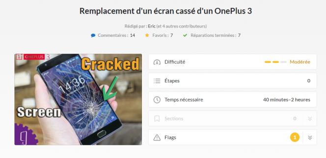 Sur le site iFixit, certains smartphones ont droit à 20 guides correspondant chacun à une réparation différente.