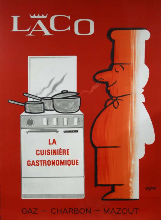 Affiche de Raymond Savignac pour les cuisinières Laco (1963).