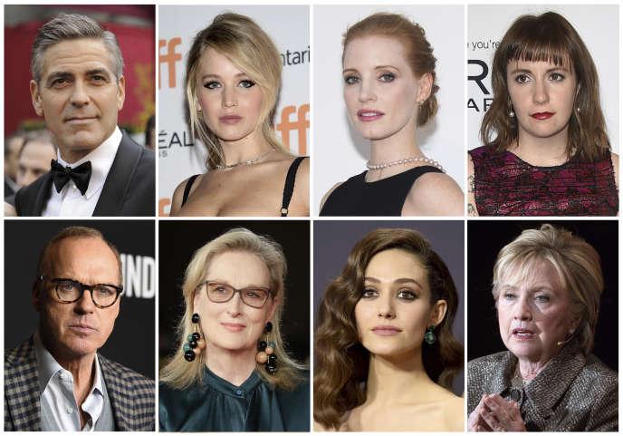 Nombreuses sont les personnalités, hommes et femmes, à accuser le producteur Harvey Weinstein, dont :George Clooney, Jennifer Lawrence, Jessica Chastain, Lena Dunham, Michael Keaton, Meryl Streep, Emmy Rossum et Hillary Clinton.