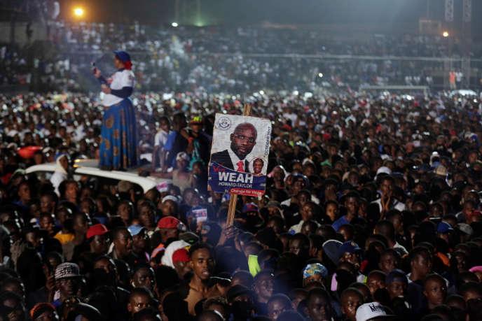 Meeting électoral de GeorgeWeahau stadeAntoinetteTubmande Monrovia, la capitale duLiberia,le 6 octobre.