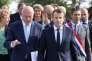 Emmanuel Macron avec le président du Conseil régional de Nouvelle-Aquitaine, Alain Rousset (PS), à Egletons (Corrèze), le 4 octobre 2017.