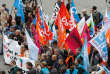 Demonstrators hold flags of French labour unions during a march of public sector workers and labour unions who take part in a nationwide strike against French government reforms in Paris, France, October 10, 2017.  REUTERS/Charles Platiau