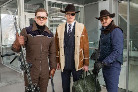 Taron Egerton, Colin Firth et Pedro Pascal dans le film américain de Matthew Vaughn,«Kingsman : Le Cercle d'or» («Kingsman: The Golden Circle»).