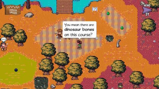 « Golf Story», un jeu de golf dans lequel des hommes préhistoriques ont conçu un golf au-dessus de restes de dinosaures. Normal.