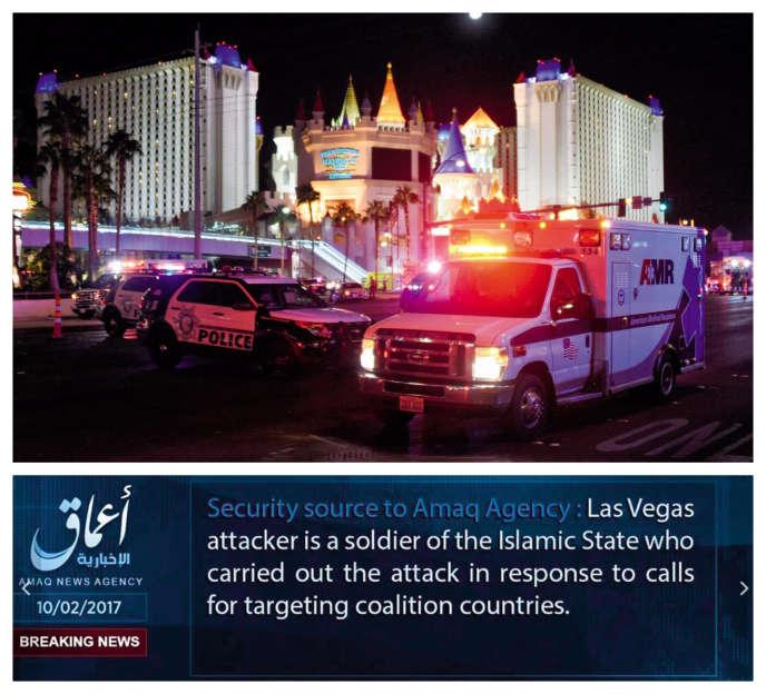 Le 2 octobre, à Las Vegas, l'AméricainStephen Craig Paddock, de 64 ans,a tiré dans la foule, tuant au moins 59 personnes et faisant plus de 500 blessés. L'agence Aamaq a très vite relayé la revendication du massacre par l'EI.