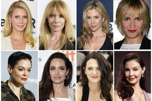 De gauche à droite: Gwyneth Paltrow, Rosanna Arquette, Mira Sorvino, Rose McGowan, Angelina Jolie Pitt, Asia Argento et Ashley Judd, des actrices parmi les nombreuses femmes qui ont témoigné contre Harvey Weinstein.