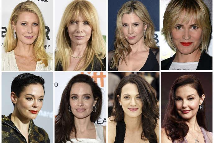 Rose McGowan, en bas à gauche, et plusieurs autres actrices ayant affirmé avoir été harcelées ou agressées par Harvey Weinstein.