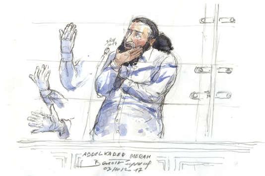 Abdelkader Merah dessiné lors de l'ouverture de son procès pour complicité d'assassinats, le 3 octobre 2017 à Paris.