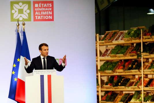 Emmanuel Macron lors des Etats généraux de l'alimantation, à Rungis (Val-de-Marne) le 11 octobre.