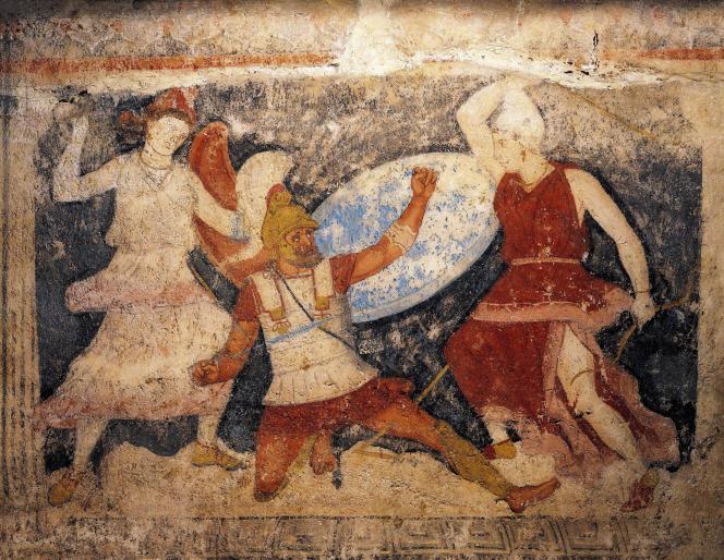 Un soldat grec attaqué par deux Amazones. « Sarcophage des Amazones », art étrusque, IVe siècle av. J.-C.