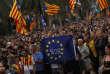 Rassemblement de militants pro-indépendance lors du discours du président de la Catalogne, Carles Puigdemont, à Barcelone le 10 octobre.
