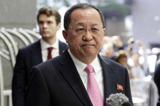 Ri Yong-ho, le chef de la diplomatie nord-coréenne, le 25 septembre 2017, lors de l'Assemblée générale des Nations unies à New York.