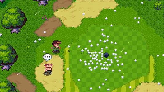 D'un simple bouton, le héros peut sortir une balle de sa poche, à n'importe quel moment, dans une interprétation très libre du golf.