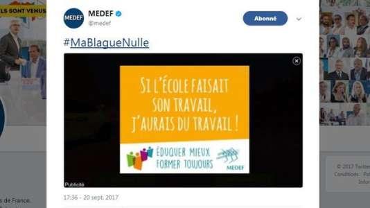 Capture d'écran d'un tweet reprenant le slogan du Medef sur l'école et le travail.