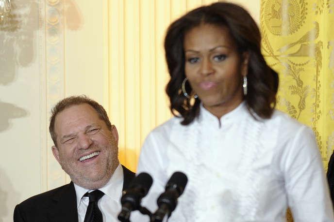 Le producteur Harvey Weinstein aux côtés de Mme Obama lors d'un atelier organisé en 2013 à la Maison Blanche.