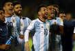 Lional Messi et ses équipiers de l'équipe d'Argentine à la fin de leur match victorieux contre l'Equateur, le 10 octobre 2017 à Quito (Equateur) lors des qualifications pour la Coupe du monde 2018.