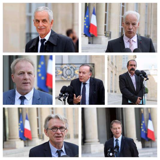 Les partenaires sociaux reçus jeudi 12 octobre par Emmanuel Macron à l'Elysée : Philippe Louis (CFTC), Alain Griset (U2P), François Hommeril (CFE-CGC), Pierre Gattaz (Medef), Philippe Martinez (CGT), Jean-Claude Mailly (FO) et François Asselin (CGPME).