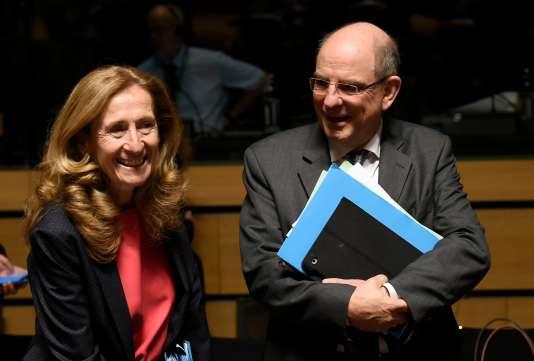 La ministre française de la justice, Nicole Belloubet, et son homologue belge Koen Geens, le 12 octobre à Luxembourg.