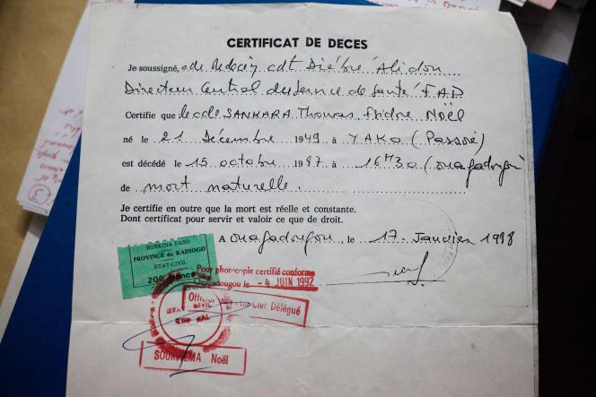 Le certificat de décès de Thomas Sankara, daté du 17janvier 1988, présente sa mort comme «naturelle».