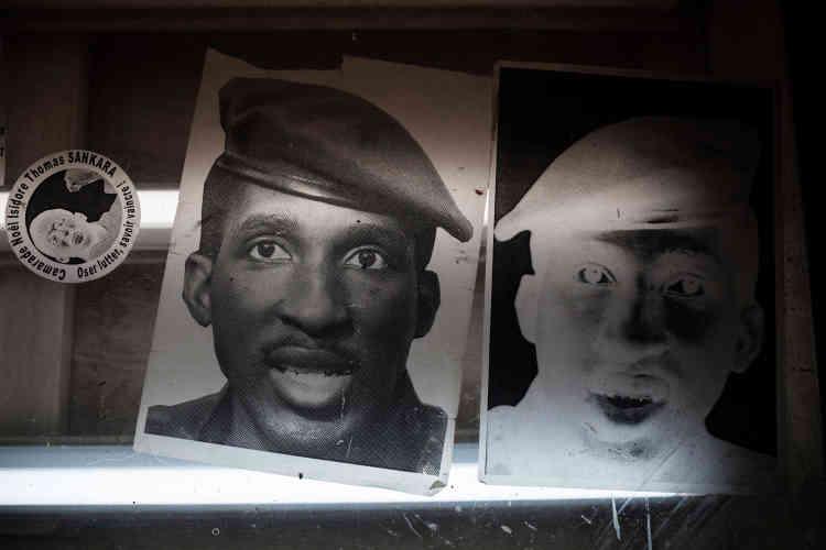 Détail d'une sérigraphie à l'effigie de Thomas Sankara utilisée pour des tee-shirts.