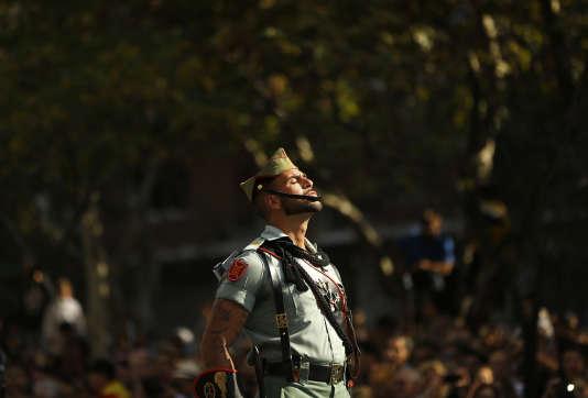 A Madrid, pendant le défilé militaire à l'occasion de la fête nationale, le 12 octobre 2017.