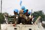 Des casques bleus en mission en RDC dans le cadre de la Monusco, lors d'une manifestation contre le président Joseph Kabila, à Kinshasa, le 20 décembre 2016.
