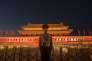 Un policier chinois monte la garde devant l'enrée de la Cité interdite, à Pékin, le 28 septembre.