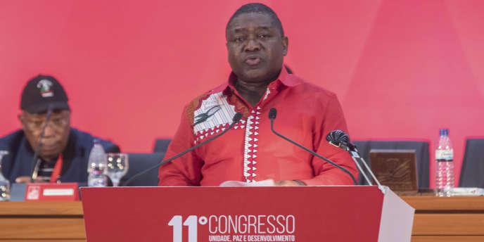 Le président du Mozambique, Filipe Nyusi, lors du onzième congrès du Frelimo, à Matola, le 2octobre 2017.