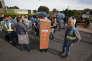 Des employés de GM&S manifestent en marge du déplacement du président de la République, Emmanuel Macron, à Egletons (Corrèze), le 4 octobre.