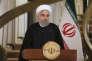 Sur cette photo du site officielle de la présidence iranienne, Hassan Rouhani s'adresseau pays lors d'un discours télévisié après l'intervention de DonaldTrump